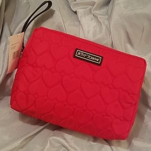 Betsey Johnson heart quilted double zip red